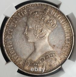 1847, Great Britain, Queen Victoria. Rare Proof Silver Gothic Crown. NGC PF+