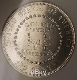 1878 Proof Silver $1 Goloid Metric Dollar Pattern Coin J-1564 NGC PF-61 WW