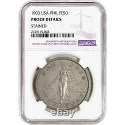 1903 US Philippines Silver Peso Proof NGC Proof Details Stained