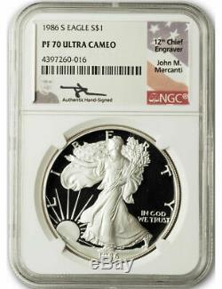 1986 S $1 Proof Silver Eagle NGC PF70 Ultra Cameo John Mercanti Signed