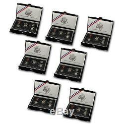 1992-1998 90% Silver United States Premier Proof Sets Run US Mint Box & COA