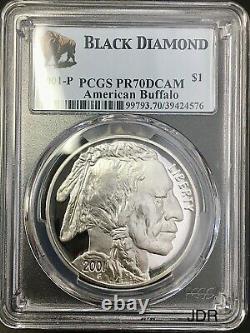 2001-P American Buffalo Silver Dollar PCGS PR-70 DEEP CAMEO Black Diamond