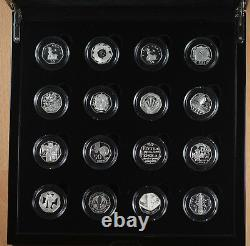 2009 Royal Mint 16 Coin Silver Proof Fifty Pence Piece 50p Set Inc Kew Gardens
