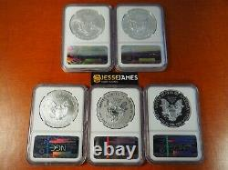 2011 P Reverse Proof Silver Eagle Ngc Pf69 Ms69 Er 5 Coin 25th Anniversary Set