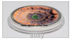 2014 Cook Islands, MOLDAVITE IMPACT meteorite coin! CONCAVE $5 silver proof+ box