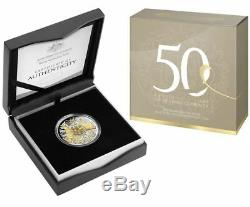 2016 50th ANN OF DECIMAL CURRENCY ROUND 50c SILVER PROOF COIN
