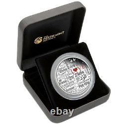2016 Perth Mint Language of Love 2 OZ $2 two dollar SILVER PROOF COIN TUVALU