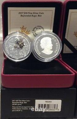 2017 Bee Bejeweled Bugs $20 1OZ Pure Silver Proof Coin Canada gemstones