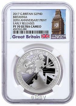 2017 Britain 1 oz Proof Silver Britannia Trident NGC PF70 UC ER Big Ben SKU49166