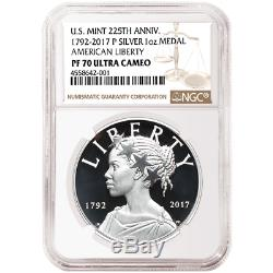 2017-P Proof 225th Ann. American Liberty Silver Medal 1 oz NGC PF70UC Brown Labe