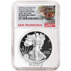 2017-S Proof $1 American Silver Eagle Limited Edition Set NGC PF70UC Trolley ER