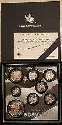 2017 S Us Mint Limited Edition Silver Proof Set Fifth Year Of Issue Omp & Coa