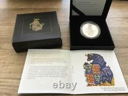 2018 Queens Beasts Black Bull of Clarence Silver Proof 1oz Coin Cap+Box+COA