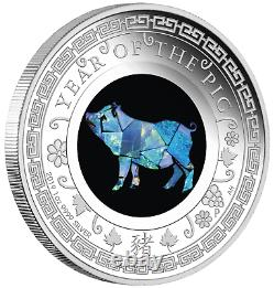 2019 Australia OPAL LUNAR Year of the PIG 1oz Silver Proof Coin NGC PF69 UC ER