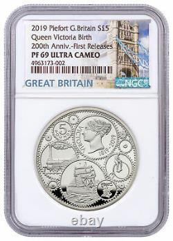 2019 Britain 200th Queen Victoria 1.82oz Silver Piedfort NGC PF69 UC FR SKU58101