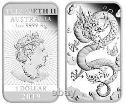 2019 DRAGON 1oz SILVER PROOF RECTANGULAR COIN AUSTRALIA 3,888 MINTAGE ONLY