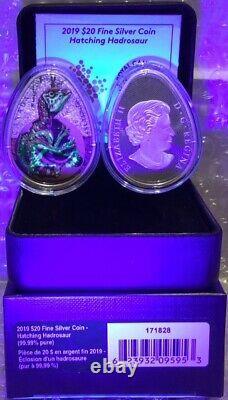 2019 Hatching Hadrosaur Dinosaur $20 1OZ Silver Proof Glow-Dark Egg-Shaped Coin