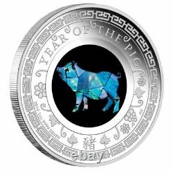 2019 Opal Lunar Series Year of the Pig 1oz Silver Proof Coin