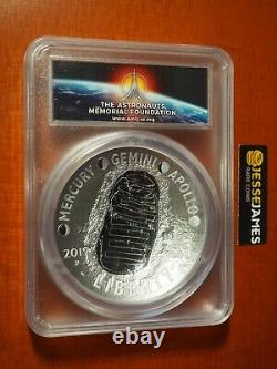 2019 P 5 Oz Proof Silver Apollo 11 Dollar Pcgs Pr70 Dcam First Strike Amf Label