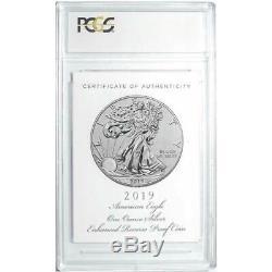 2019-S Enhanced Reverse Proof $1 American Silver Eagle / COA # PCGS PR70 FDOI Fl