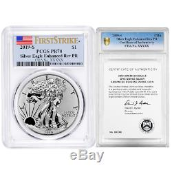 2019-S Enhanced Reverse Proof $1 American Silver Eagle / COA # PCGS PR70 FS Flag