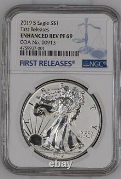 2019-S Enhanced Reverse Proof Silver Eagle NGC PF69 COA#913! UNOPENED FROM NGC