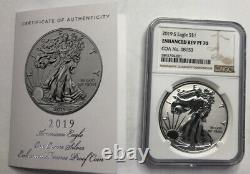 2019 S Silver Eagle Reverse Proof Enhanced Ngc Pf70 Coa. 08153 Ogp Included