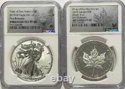 2019 W $1 & $5 Silver Reverse Proof Ngc Pf69 Fr Pride Of Two Nations 2 Coin Set