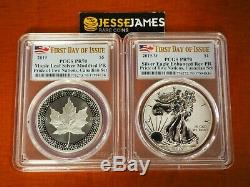 2019 W Silver Eagle Pcgs Pr70 Pride Of Two Nations First Day Of Issue Canada Set