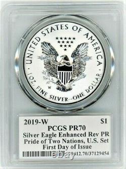 2019-w Enhanced/reverse Proof Silver Eagle-pcgs Pr70-fdoi-mercanti-pride/nation