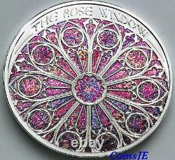 2020 1 oz. 999 THE ROSE WINDOW High Relief Silver Colorised coin