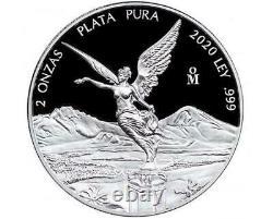 2020 2 oz Silver Mexican Libertad PROOF 2 Troy Oz Coin. 999 Fine Silver #A362