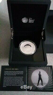 2020 James Bond 007 Five Ounce Silver proof UK £10 coin. Extremely Rare
