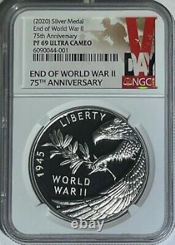 2020 P Ngc Pf69 End Of World War 2 75th Anniversary 1 Oz Silver Medal II Box Coa