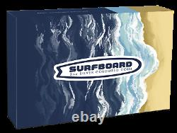 2020 Perth Mint SURFBOARD 2 OZ $2 two dollar SILVER PROOF COIN TUVALU