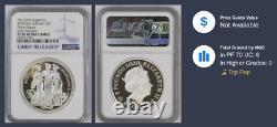 2020 Royal Mint Three Graces Silver Proof 2 ounce NGC PF70UC COA, original box
