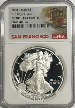 2020 S 1 Oz Ngc Pf70 Ucam First Day Of Issue Proof Silver Eagle Trolley Label
