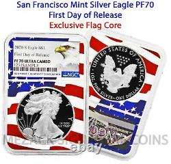 2020-S Proof $1 American Silver Eagle NGC PF70 Ultra Cameo FDOR Flag Core