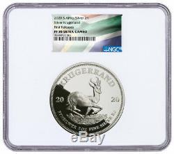 2020 South Africa 2oz Silver Krugerrand Proof NGC PF70 UC FR Flag Label SKU60342