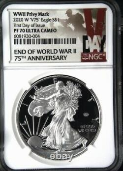2020 W End Of World War II V75 American Silver Eagle Ngc Pf 70 First Day Privy