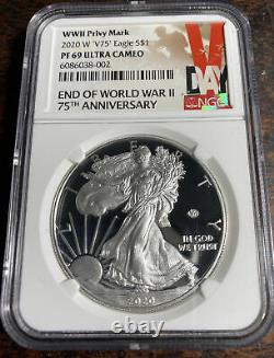 2020 W End Of World War II V75 Silver American Eagle Ngc Pf 69