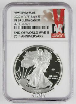 2020 W End of WWII 75th Anniversary American 1 Oz Silver Eagle V75 NGC PF69 UC