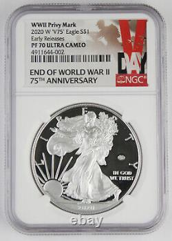 2020 W End of WWII 75th Anniversary American 1 Oz Silver Eagle V75 NGC PF70 ER