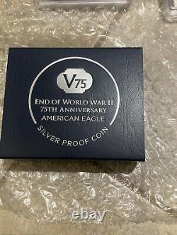 2020 W End of World War II Silver Eagle PCGS PR70DCAM 1st Strike V75 Privy & COA