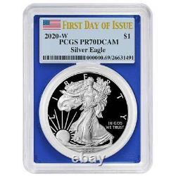 2020-W Proof $1 American Silver Eagle PCGS PR70DCAM FDOI Flag Label Blue Frame