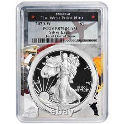 2020-W Proof $1 American Silver Eagle PCGS PR70DCAM FDOI West Point Frame