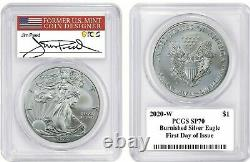 2020-W SP70 PCGS First Day Of Issue Burnished Silver Eagle Peed Signed
