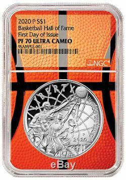 2020P $1 Basketball Hall Fame Silver Dollar NGC PF70 FDI Basketball Core PRESALE