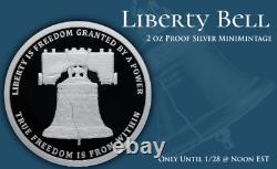 2021 2 oz. 999 FINE SILVER Liberty Bell MiniMintage Proof Silver Round PRESALE