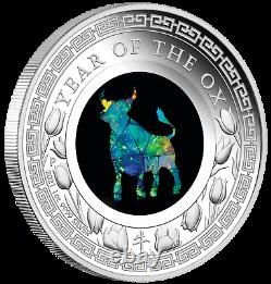 2021 Australia Opal Series Lunar Year of the OX 1oz Silver Proof $1 Coin